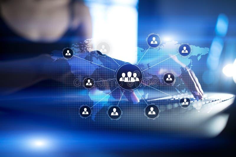 Estructura de organización de gente Hora Recursos humanos y reclutamiento Comunicación, tecnología de Internet Concepto del asunt stock de ilustración