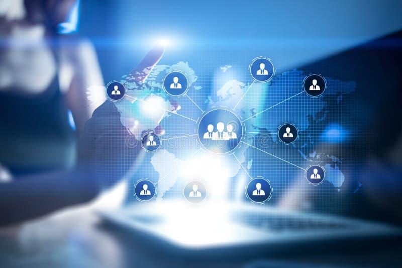 Estructura de organización de gente Hora Recursos humanos y reclutamiento Tecnología de la comunicación y de Internet Negocios stock de ilustración