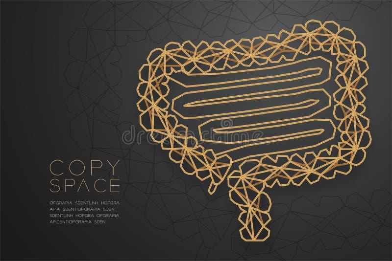 Estructura de oro del marco del polígono del wireframe de la forma del intestino, ejemplo del diseño de concepto del órgano de ilustración del vector