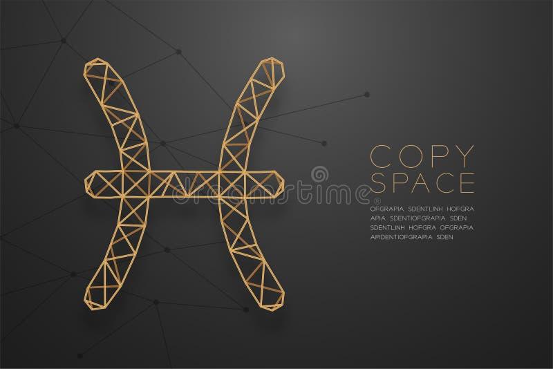 Estructura de oro del marco del polígono del wireframe de la muestra del zodiaco de Piscis, para libre illustration