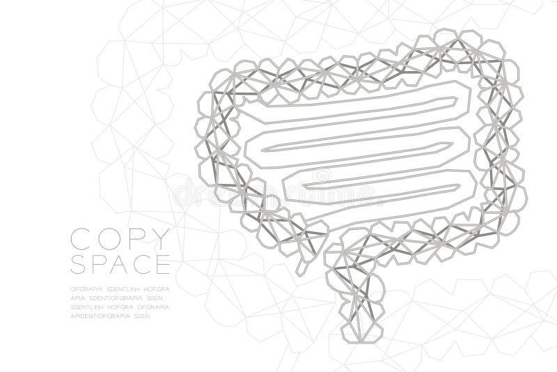 Estructura de plata del marco del polígono del wireframe de la forma del intestino, ejemplo del diseño de concepto del órgano  ilustración del vector