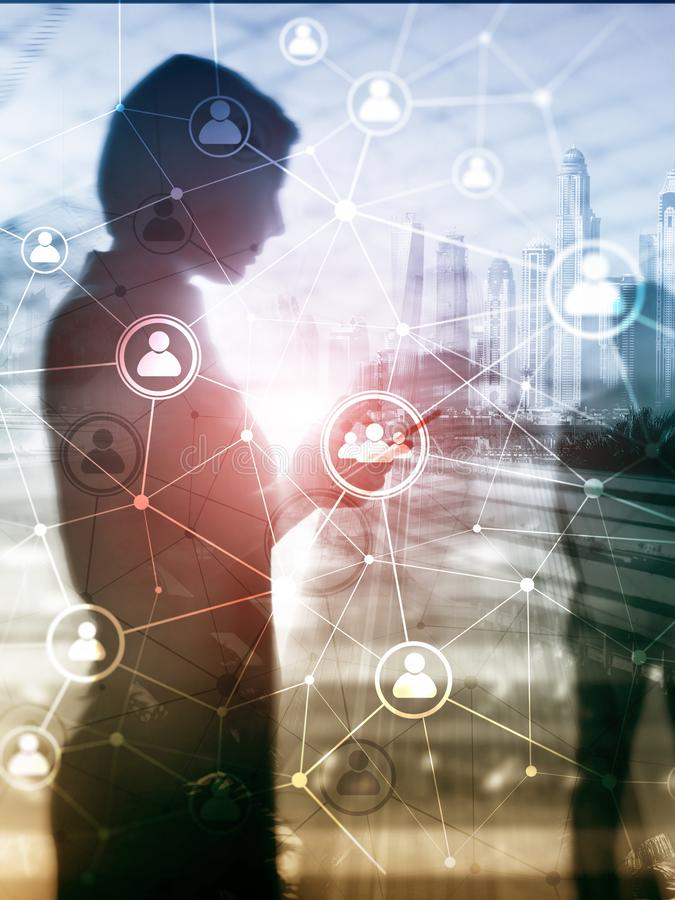 Estructura de red de la gente de la exposición doble hora - gestión de recursos humanos y concepto del reclutamiento stock de ilustración