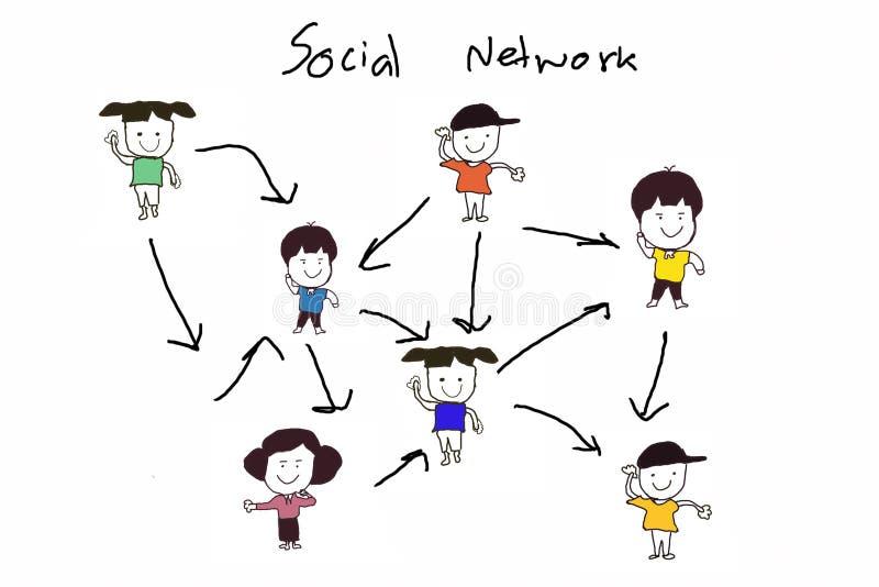 Estructura de red social stock de ilustración