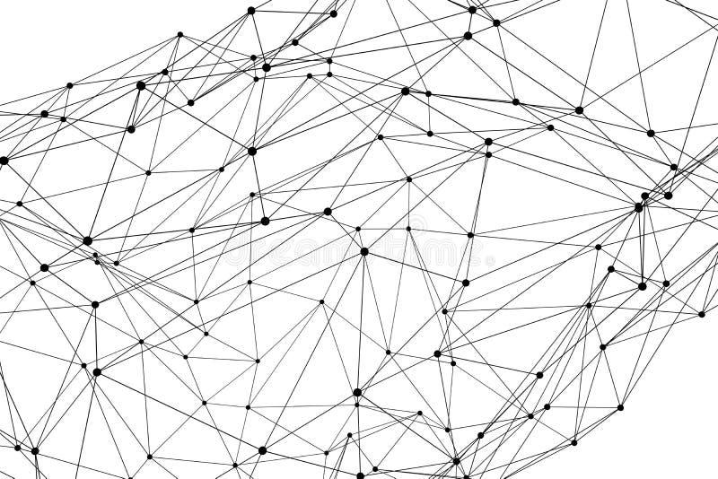 Estructura de red tridimensional abstracta del wireframe del polígono ilustración del vector