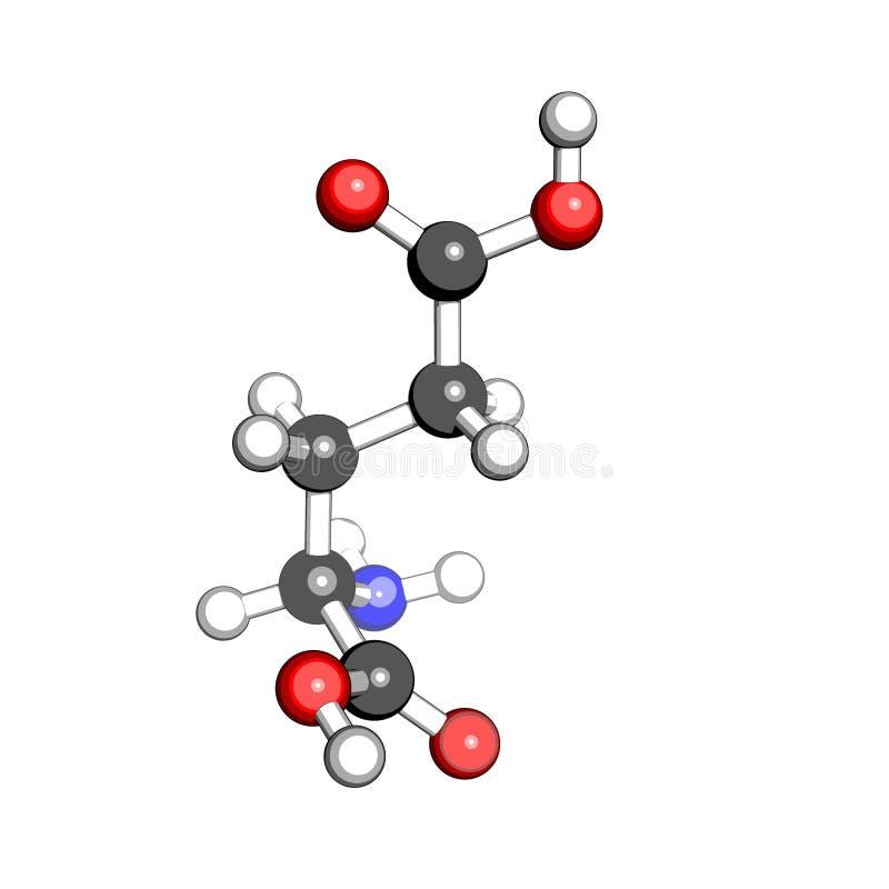 Estructura del ácido glutámico del aminoácido stock de ilustración