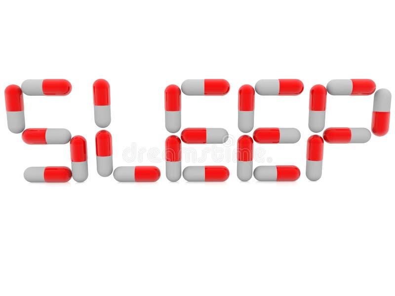 Estructura del concepto del sueño de píldoras rojas y blancas en blanco ilustración del vector