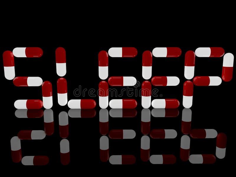 Estructura del concepto del sueño de píldoras rojas y blancas en negro stock de ilustración