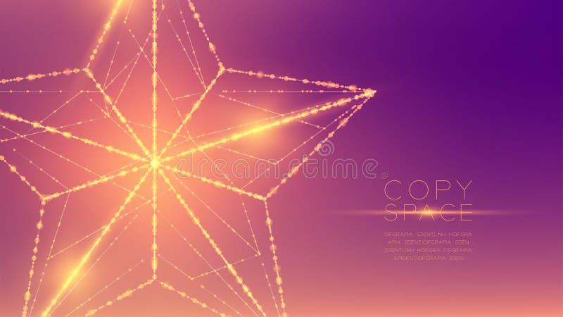 Estructura del marco de la luz del bokeh del polígono del wireframe de la estrella de la Navidad y libre illustration