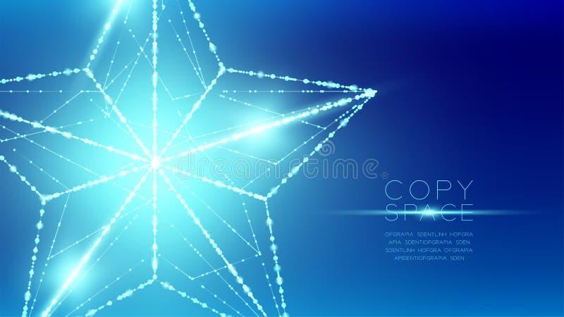 Estructura del marco de la luz del bokeh del polígono del wireframe de la estrella de la Navidad y ilustración del vector