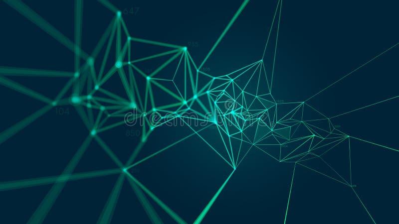Estructura del plexo de la conexión de red que forma un modelo geométrico, fondo abstracto del vector ilustración del vector