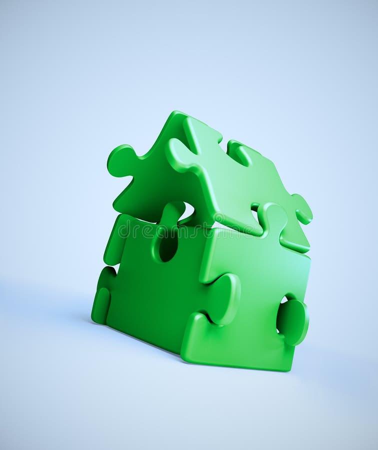 Estructura del símbolo de la casa fuera del rompecabezas de rompecabezas libre illustration