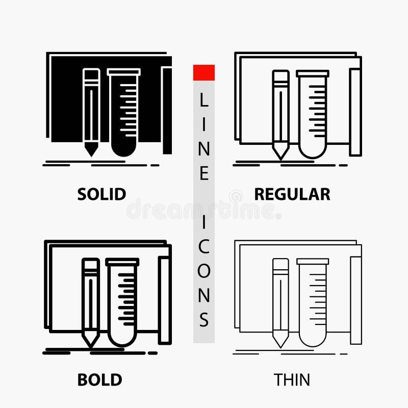 estructura, equipo, fabuloso, laboratorio, icono de las herramientas en línea y estilo finos, regulares, intrépidos del Glyph Ilu ilustración del vector
