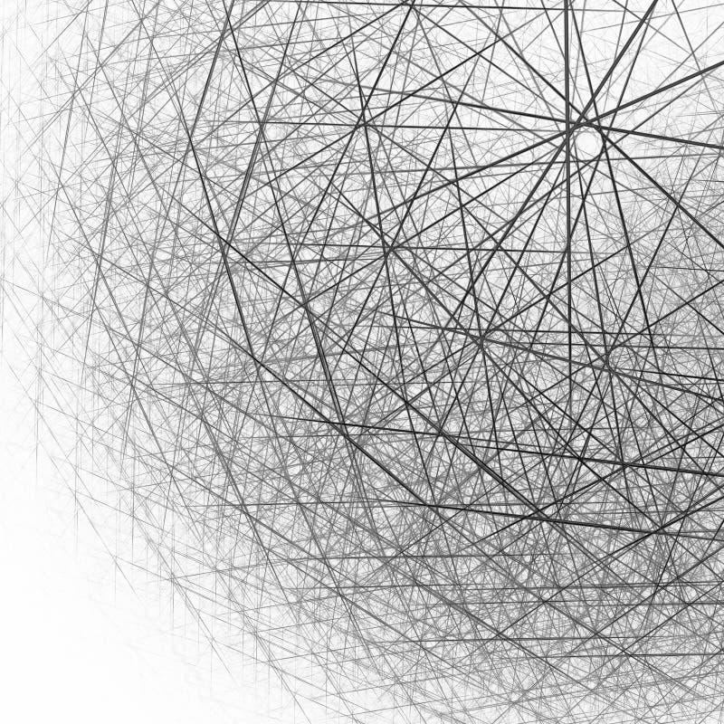 estructura esférica 3d blanco y negro stock de ilustración