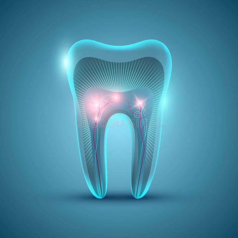 Estructura futurista abstracta del diente en fondo azul libre illustration