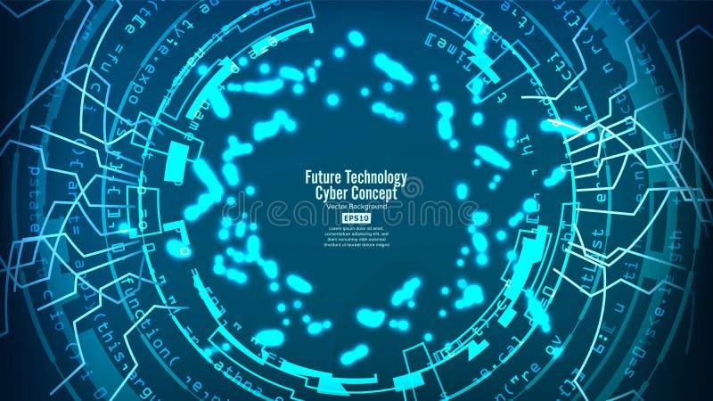 Estructura futurista de la conexión de la tecnología Fondo abstracto del vector Red electrónica azul Diseño de sistemas de Digita libre illustration