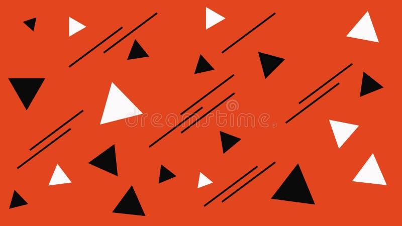 Estructura geométrica de las formas Triángulos blancos y negros abstractos en el contexto rojo Fondo del triángulo ilustración del vector