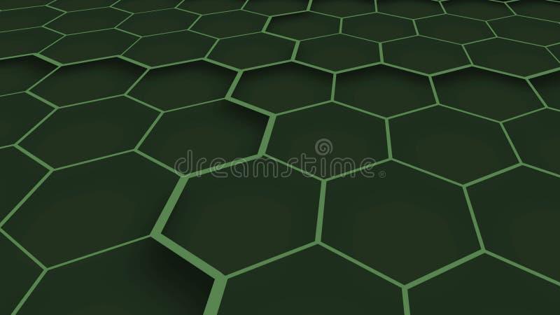 Estructura geométrica verde abstracta 3d Textura verde de los hex?gonos Fondo geom?trico stock de ilustración