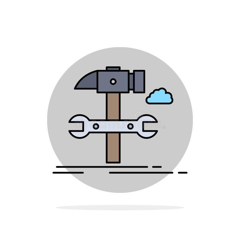 Estructura, ingeniería, martillo, reparación, vector del icono del color del plano de servicio stock de ilustración