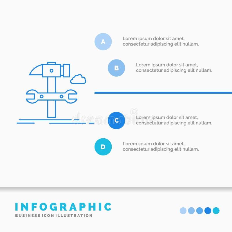Estructura, ingenier?a, martillo, reparaci?n, plantilla de Infographics del servicio para la p?gina web y presentaci?n L?nea esti ilustración del vector