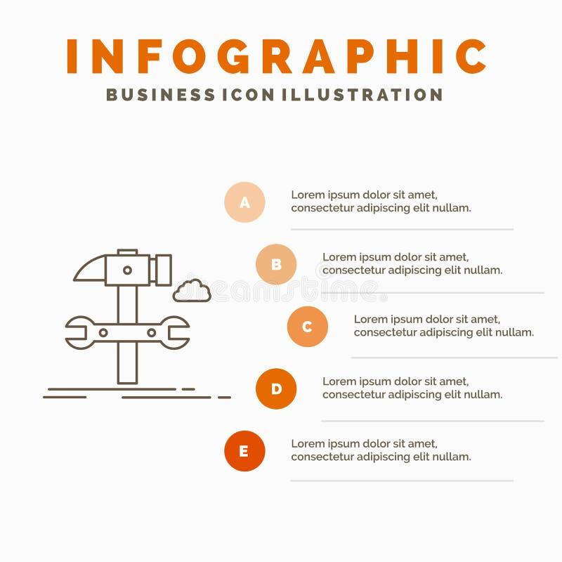 Estructura, ingenier?a, martillo, reparaci?n, plantilla de Infographics del servicio para la p?gina web y presentaci?n L?nea icon ilustración del vector