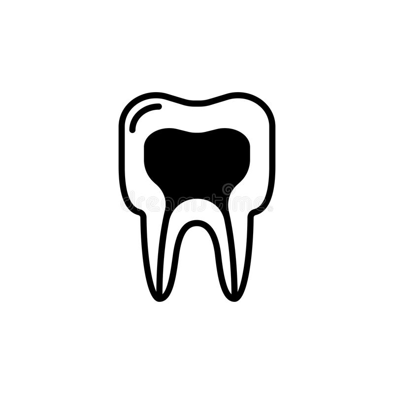 Estructura médica del icono del diente Línea ilustración del vector stock de ilustración