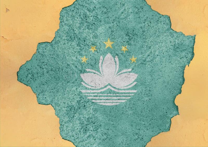 Estructura material rota bandera de la fachada del estado de Macao en hormigón grande imágenes de archivo libres de regalías