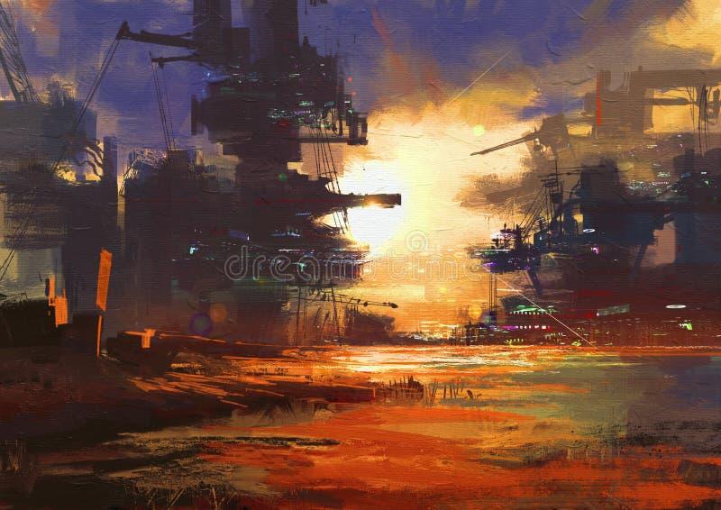 Estructura mega en ciudad de la ciencia ficción en la puesta del sol libre illustration
