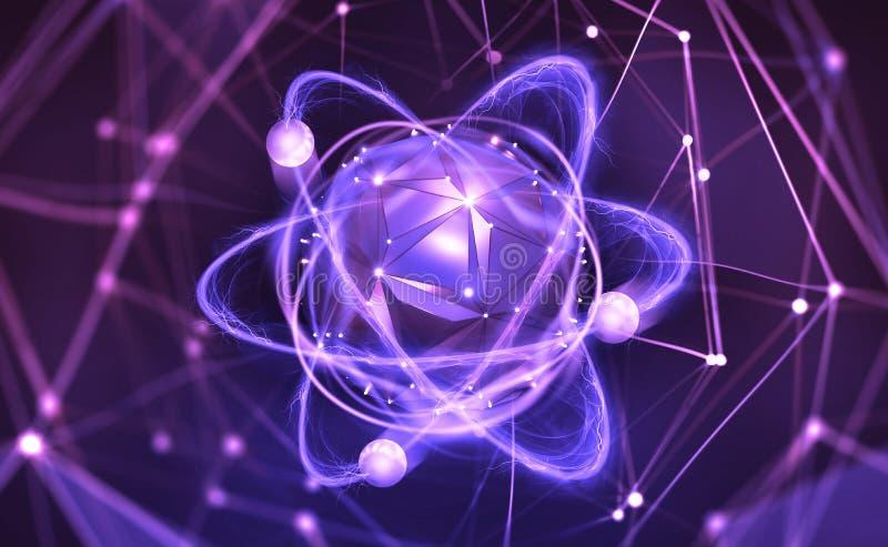 Estructura at?mica Concepto futurista Nanotecnolog?a del futuro stock de ilustración