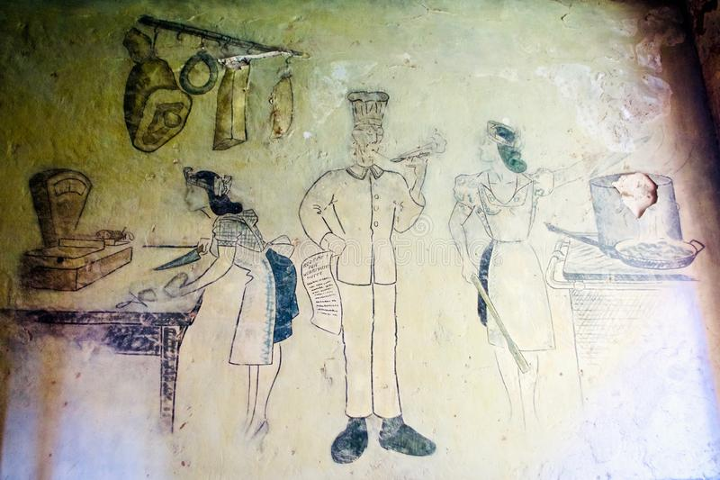 Estructura militar italiana interior, cabo de Diaporo, Leros, Grecia imagenes de archivo