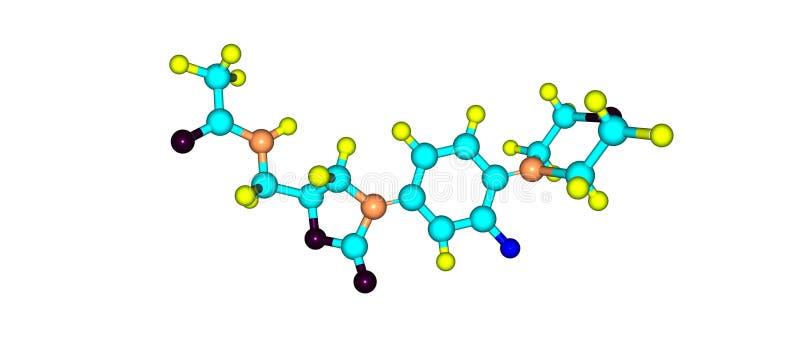 Estructura molecular antibiótico de Linezolid aislada en blanco ilustración del vector
