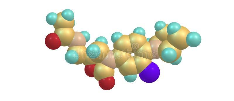 Estructura molecular antibiótico de Linezolid aislada en blanco stock de ilustración