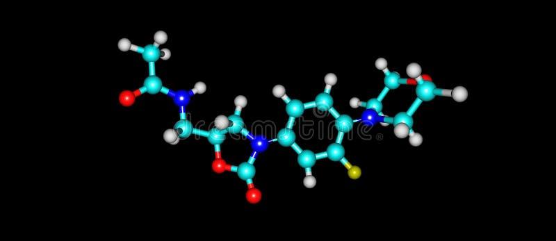 Estructura molecular antibiótico de Linezolid aislada en negro stock de ilustración