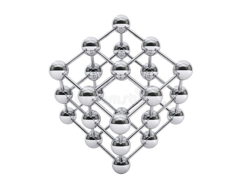 estructura molecular 3d como cubo libre illustration