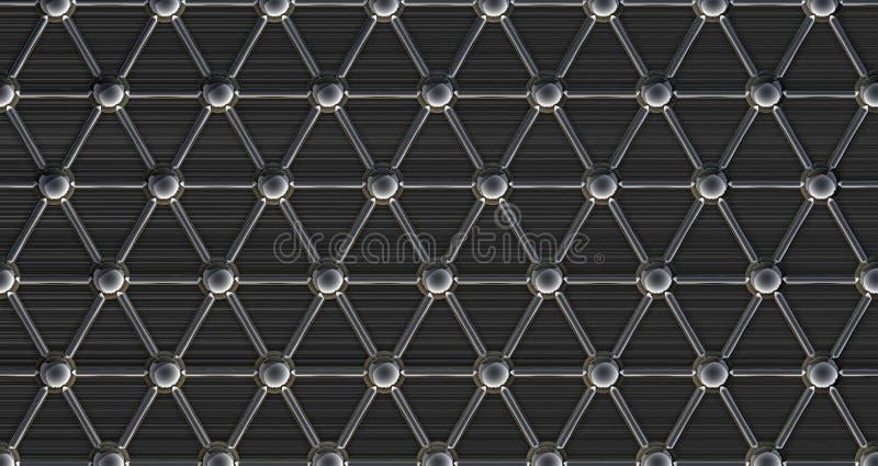 Estructura molecular de acero simple stock de ilustración