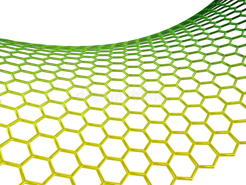 Estructura molecular de Graphene en el fondo blanco foto de archivo libre de regalías