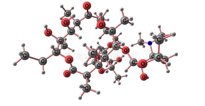 Estructura molecular de la eritromicina aislada en blanco stock de ilustración