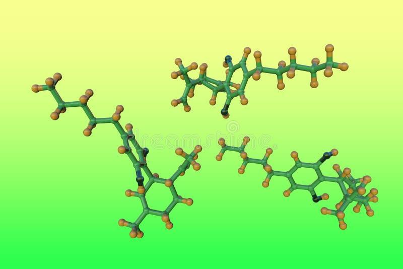 Estructura molecular del cannabidiol CBD, un ingrediente activo en el c??amo derivado de la planta del c??amo M?dico stock de ilustración