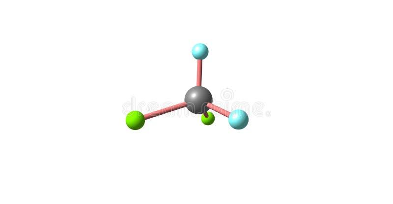 Estructura molecular del diclorodifluorometano aislada en blanco ilustración del vector