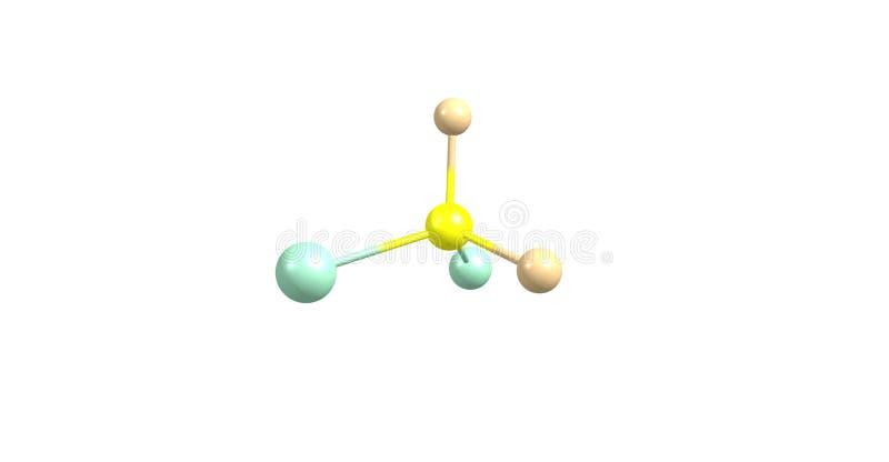 Estructura molecular del diclorodifluorometano aislada en blanco libre illustration