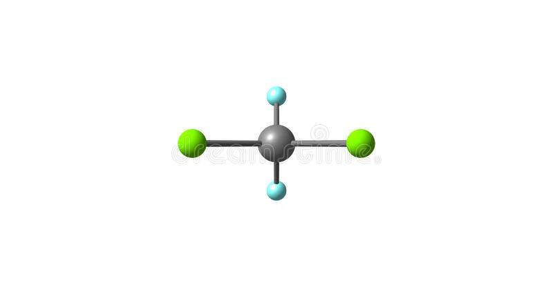 Estructura molecular del diclorodifluorometano aislada en blanco stock de ilustración