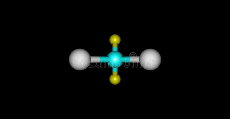 Estructura molecular del diclorodifluorometano aislada en negro stock de ilustración
