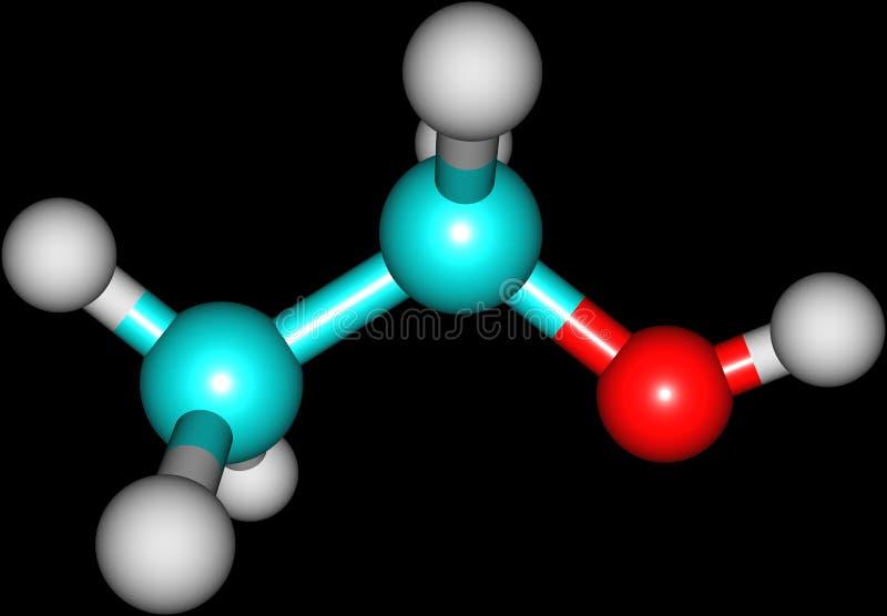 Estructura molecular del etanol aislada en negro libre illustration
