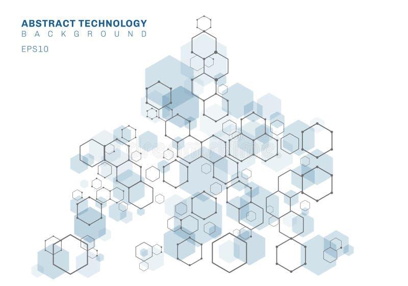 Estructura molecular hexagonal azul del extracto del sistema de las neuronas Fondo de la tecnolog?a de Digitaces Plantilla geom?t stock de ilustración