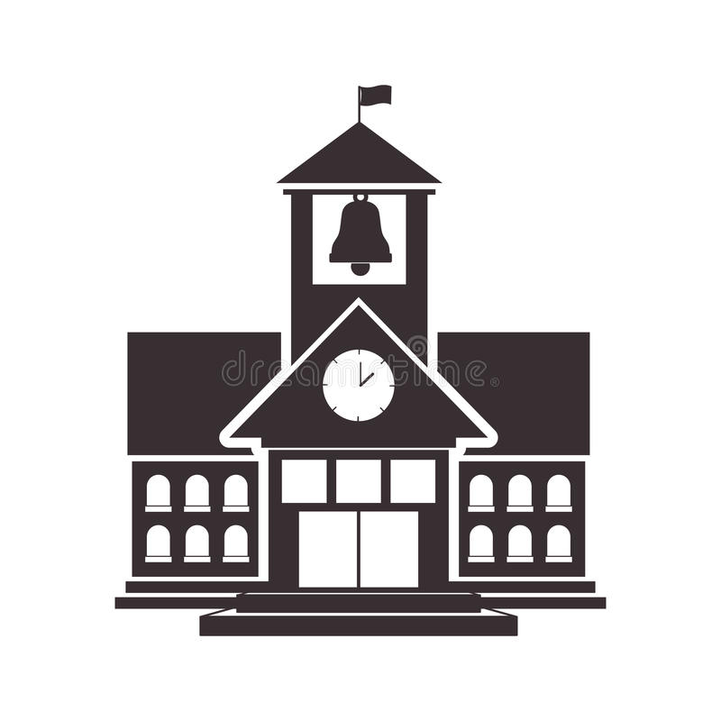 Estructura negra de la High School secundaria de la silueta con la bandera stock de ilustración