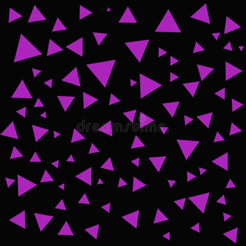 Estructura púrpura geométrica de las formas Triángulos púrpuras abstractos en el contexto negro Fondo del triángulo ilustración del vector