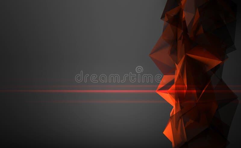 estructura poligonal roja brillante 3d con la luz laser ilustración del vector