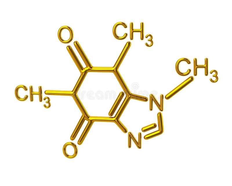 Estructura química de la molécula de oro del cafeína libre illustration