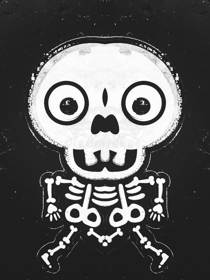 Estructura y cráneo del hueso en blanco y negro libre illustration