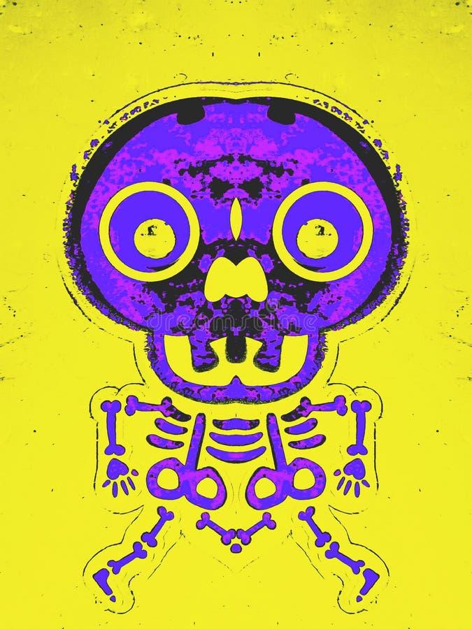 Estructura y cráneo púrpuras y rosados del hueso libre illustration