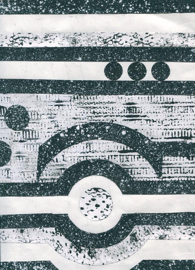 Estructuras abstractas de las ondas en fondo de la tecnología y estilo del grunge Las líneas exhaustas de la mano diseñan Ilustra ilustración del vector